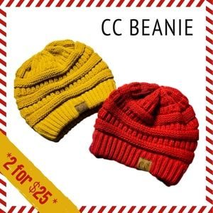 CC Knit Beanie PAIR Red & Mustard🌟NWOT 2 for $25